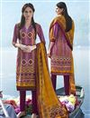image of Purple Party Wear Straight Cut Pashmina Suit-208B