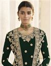 photo of Dark Green Party Wear Embroidered Georgette Straight Cut Dress With Jacket