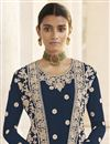 photo of Party Wear Navy Blue Embroidered Straight Cut Georgette Dress With Jacket