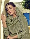 photo of Sangeet Wear Georgette Fabric Thread Embroidered Palazzo Suit In Khaki Color