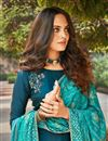 photo of Party Wear Teal Color Classic Art Silk Fabric Thread Embroidered Palazzo Dress