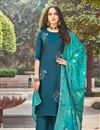 image of Party Wear Teal Color Classic Art Silk Fabric Thread Embroidered Palazzo Dress