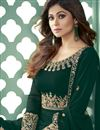 photo of Shamita Shetty Function Wear Embroidered Dark Green Color Long Length Anarkali Suit