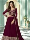 image of Shamita Shetty Function Wear Maroon Color Long Length Embroidered Anarkali Suit