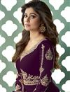 photo of Shamita Shetty Function Wear Embroidered Purple Color Floor Length Anarkali Dress