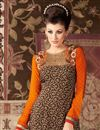 photo of Long Length Party Wear Crepe Salwar Kameez in Brown Color