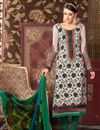 image of Off White Color Straight Cut Party Wear Salwar Suit in Crepe Fabric