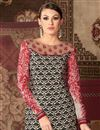 photo of Long Length Black And Cream Color Party Wear Salwar Kameez in Crepe Fabric