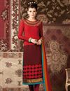 image of Long Length Red Color Party Wear Salwar Kameez in Crepe Fabric