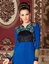 photo of Blue Color Long Length Crepe Salwar Kameez with Embroidery