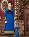 image of Blue Color Long Length Crepe Salwar Kameez with Embroidery