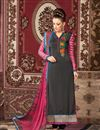 image of Long Length Party Wear Crepe Salwar Kameez in Grey Color