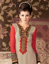 photo of Beige Color Straight Cut Party Wear Salwar Suit in Crepe Fabric