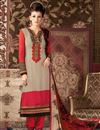 image of Long Length Party Wear Crepe Salwar Kameez in Beige Color