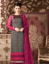 image of Black Color Straight Cut Party Wear Salwar Suit in Crepe Fabric