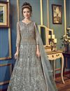 image of Grey Color Sangeet Wear Net Fabric Fancy Embroidered Long Length Anarkali Suit