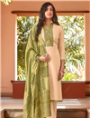 image of Beige Color Festive Wear Embroidered Straight Cut Suit In Cotton Silk Fabric