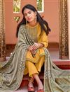 photo of Festive Wear Yellow Color Embroidered Straight Cut Cotton Silk Fabric Dress