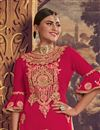 photo of Embellished Georgette Fabric Designer Party Wear Palazzo Suit In Crimson Color