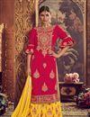 image of Embellished Georgette Fabric Designer Party Wear Palazzo Suit In Crimson Color