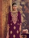 photo of Purple Color Designer Embroidered Palazzo Suit In Georgette Fabric