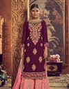 image of Purple Color Designer Embroidered Palazzo Suit In Georgette Fabric