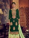 image of Georgette Fabric Party Wear Designer Palazzo Suit In Dark Green Color