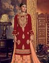image of Maroon Color Georgette Fabric Festive Wear Palazzo Salwar Suit With Embroidery Work