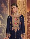 photo of Occasion Wear Navy Blue Color Embroidered Palazzo Suit In Georgette Fabric
