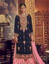 image of Occasion Wear Navy Blue Color Embroidered Palazzo Suit In Georgette Fabric