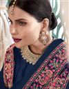 photo of Art Silk Fabric Navy Blue Color Function Wear Embroidered Anarkali Suit