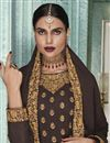photo of Brown Color Georgette Fabric Sangeet Wear Anarkali Suit With Embroidery Work