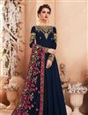 image of Soothing Georgette Fabric Navy Blue Embroidered Designer Anarkali Salwar Suit