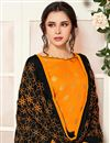 photo of Casual Wear Mustard Color Straight Cut Banarasi Fabric Suit