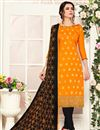 image of Mustard Color Casual Wear Straight Cut Dress In Banarasi Fabric