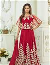 image of Ready To Ship Krystle Dsouza Red Embroidered Anarkali Dress