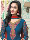 photo of Straight Cut Blue Color Embroidered Georgette Salwar Suit