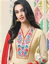 photo of Cream Color Embroiderd Designer Salwar Kameez In Georgette Fabric