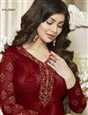 photo of Ready To Ship Ayesha Takia Featuring Maroon Embroidery Work On Georgette Desginer Straight Cut Salwar Kameez