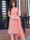 image of Pink Color Festive Wear Lakhnavi Work Viscose Fabric Readymade Salwar Suit