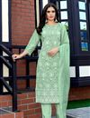 image of Sea Green Color Function Wear Lakhnavi Work Viscose Fabric Readymade Dress