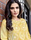 photo of Viscose Fabric Party Wear Yellow Color Lakhnavi Work Readymade Suit