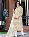 image of Viscose Fabric Festive Wear Lakhnavi Work Readymade Salwar Suit In Beige Color