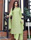 image of Party Wear Viscose Fabric Green Color Lakhnavi Work Readymade Dress