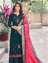 image of Teal Color Festive Wear Embroidered Palazzo Dress In Art Silk Fabric