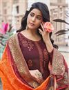 photo of Festive Wear Maroon Color Art Silk Fabric Embroidered Palazzo Suit