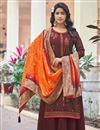 image of Festive Wear Maroon Color Art Silk Fabric Embroidered Palazzo Suit