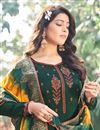 photo of Art Silk Fabric Festive Wear Embroidered Palazzo Dress In Dark Green Color