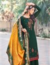 image of Art Silk Fabric Festive Wear Embroidered Palazzo Dress In Dark Green Color