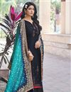 image of Festive Wear Navy Blue Color Embroidered Art Silk Fabric Palazzo Suit